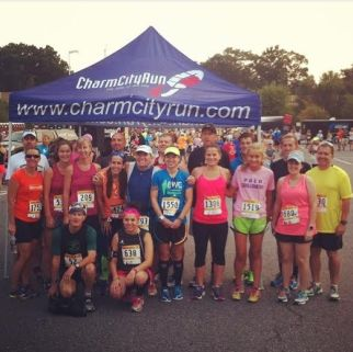 photo of the Towson/Lutherville/Cockeysville Charm City Run runners before the race!