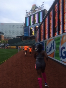 Running onto the field at Camden Yards